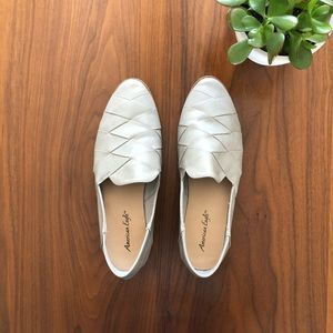 American Eagle Grey Woven Loafer Flats Faux Lther